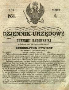 Dziennik Urzędowy Gubernii Radomskiej, 1854, nr 6