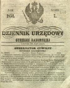 Dziennik Urzędowy Gubernii Radomskiej, 1854, nr 7