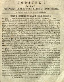 Dziennik Urzędowy Gubernii Radomskiej, 1854, nr 8, dod. I