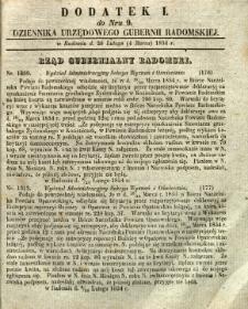 Dziennik Urzędowy Gubernii Radomskiej, 1854, nr 9, dod. I