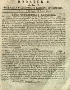 Dziennik Urzędowy Gubernii Radomskiej, 1854, nr 10, dod. II