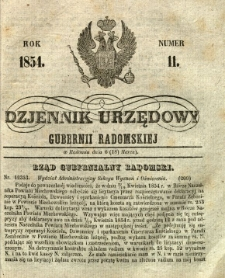 Dziennik Urzędowy Gubernii Radomskiej, 1854, nr 11