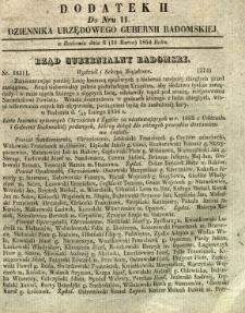 Dziennik Urzędowy Gubernii Radomskiej, 1854, nr 11, dod. II