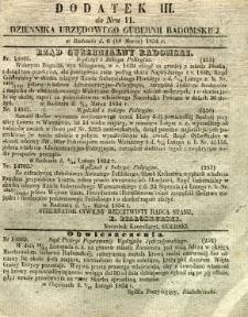 Dziennik Urzędowy Gubernii Radomskiej, 1854, nr 11, dod. III