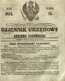 Dziennik Urzędowy Gubernii Radomskiej, 1854, nr 14