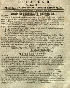 Dziennik Urzędowy Gubernii Radomskiej, 1854, nr 14, dod. II