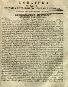 Dziennik Urzędowy Gubernii Radomskiej, 1854, nr 15, dod. I