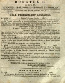 Dziennik Urzędowy Gubernii Radomskiej, 1854, nr 16, dod. II
