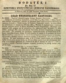 Dziennik Urzędowy Gubernii Radomskiej, 1854, nr 17, dod. I