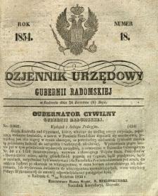 Dziennik Urzędowy Gubernii Radomskiej, 1854, nr 18
