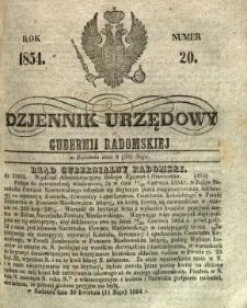 Dziennik Urzędowy Gubernii Radomskiej, 1854, nr 20
