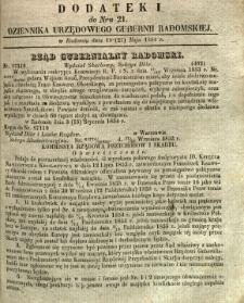 Dziennik Urzędowy Gubernii Radomskiej, 1854, nr 21, dod. I