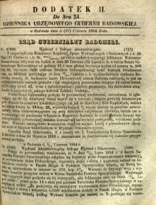 Dziennik Urzędowy Gubernii Radomskiej, 1854, nr 24, dod. II