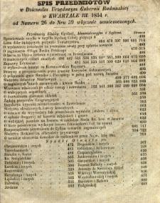 Spis Przedmiotów w Dzienniku Urzędowym Gubernii Radomskiej w kwartale III 1854 r. od numeru 26 do nr 39 włącznie zamieszczonych