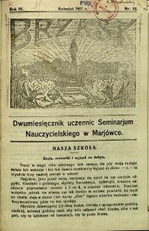 Brzask: Dwumiesięcznik uczennic Seminarium Nauczycielskiego w Mariówce, 1927, R. 4, nr 12
