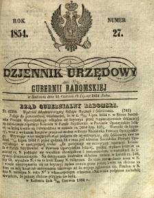 Dziennik Urzędowy Gubernii Radomskiej, 1854, nr 27
