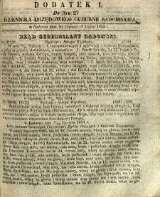 Dziennik Urzędowy Gubernii Radomskiej, 1854, nr 27, dod. I