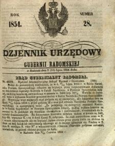Dziennik Urzędowy Gubernii Radomskiej, 1854, nr 28