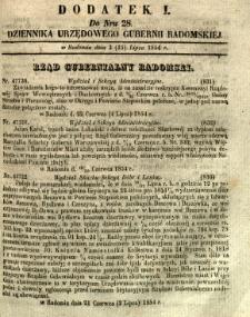 Dziennik Urzędowy Gubernii Radomskiej, 1854, nr 28, dod. I