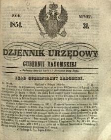 Dziennik Urzędowy Gubernii Radomskiej, 1854, nr 31