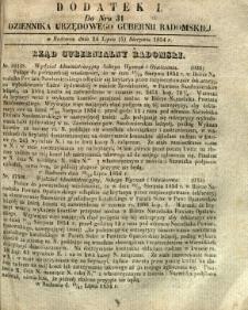 Dziennik Urzędowy Gubernii Radomskiej, 1854, nr 31, dod. I