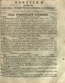 Dziennik Urzędowy Gubernii Radomskiej, 1854, nr 31, dod. II