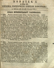 Dziennik Urzędowy Gubernii Radomskiej, 1854, nr 34, dod. I