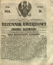 Dziennik Urzędowy Gubernii Radomskiej, 1854, nr 36