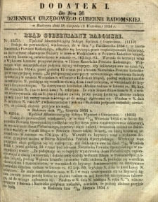 Dziennik Urzędowy Gubernii Radomskiej, 1854, nr 36, dod. I