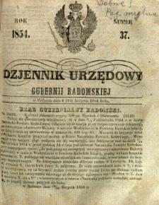 Dziennik Urzędowy Gubernii Radomskiej, 1854, nr 37