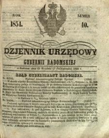 Dziennik Urzędowy Gubernii Radomskiej, 1854, nr 40
