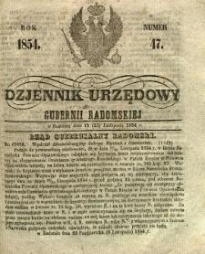 Dziennik Urzędowy Gubernii Radomskiej, 1854, nr 47