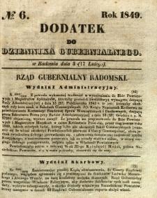 Dodatek do Dziennika Gubernialnego, 1849, nr 6