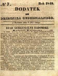 Dodatek do Dziennika Gubernialnego, 1849, nr 7