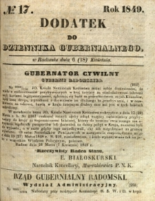 Dodatek do Dziennika Gubernialnego, 1849, nr 17