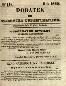 Dodatek do Dziennika Gubernialnego, 1849, nr 19