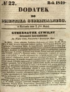 Dodatek do Dziennika Gubernialnego, 1849, nr 22