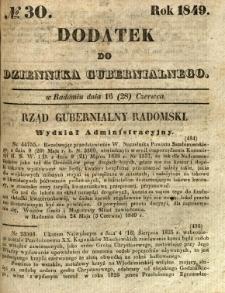 Dodatek do Dziennika Gubernialnego, 1849, nr 30