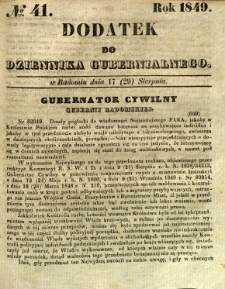 Dodatek do Dziennika Gubernialnego, 1849, nr 41