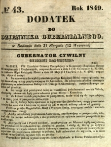 Dodatek do Dziennika Gubernialnego, 1849, nr 43