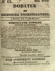 Dodatek do Dziennika Gubernialnego, 1849, nr 45