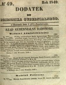 Dodatek do Dziennika Gubernialnego, 1849, nr 49