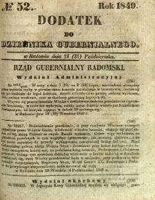 Dodatek do Dziennika Gubernialnego, 1849, nr 52