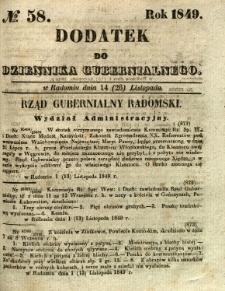 Dodatek do Dziennika Gubernialnego, 1849, nr 58