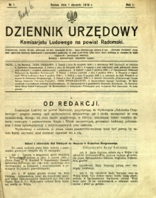 Dziennik Urzędowy Komisarjatu Ludowego na powiat Radomski, 1919, R. 1, nr 1
