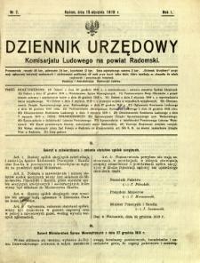 Dziennik Urzędowy Komisarjatu Ludowego na powiat Radomski, 1919, R. 1, nr 2