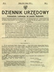 Dziennik Urzędowy Komisarjatu Ludowego na powiat Radomski, 1919, R. 1, nr 3