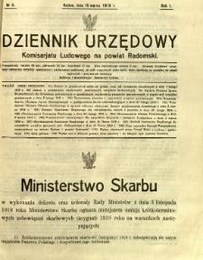 Dziennik Urzędowy Komisarjatu Ludowego na powiat Radomski, 1919, R. 1, nr 6