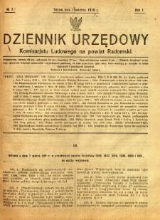 Dziennik Urzędowy Komisarjatu Ludowego na powiat Radomski, 1919, R. 1, nr 7