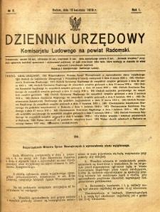 Dziennik Urzędowy Komisarjatu Ludowego na powiat Radomski, 1919, R. 1, nr 8